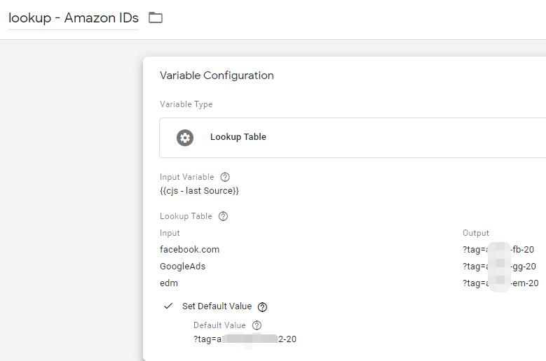 通过Lookup Table设置好流量渠道与tracking id的一一对应关系
